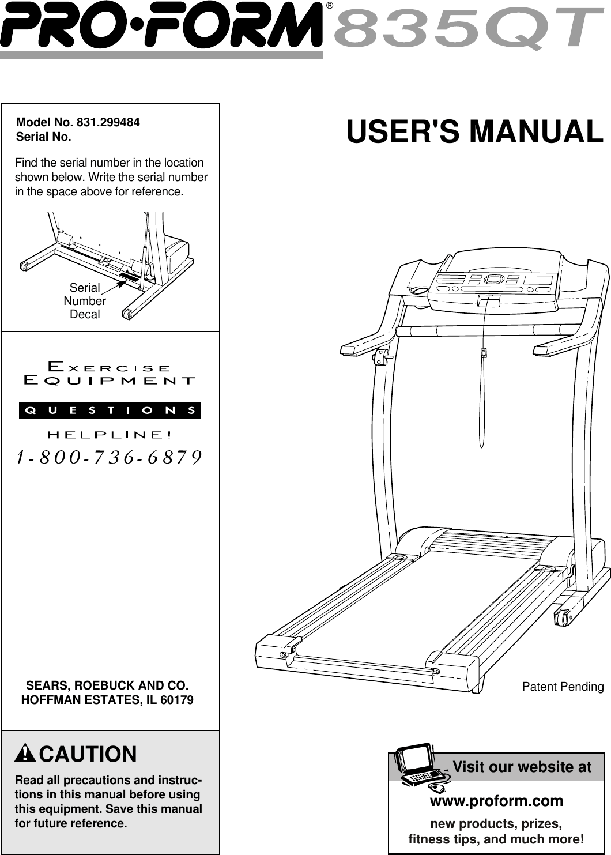 Proform 835Qt 831 299484 Users Manual