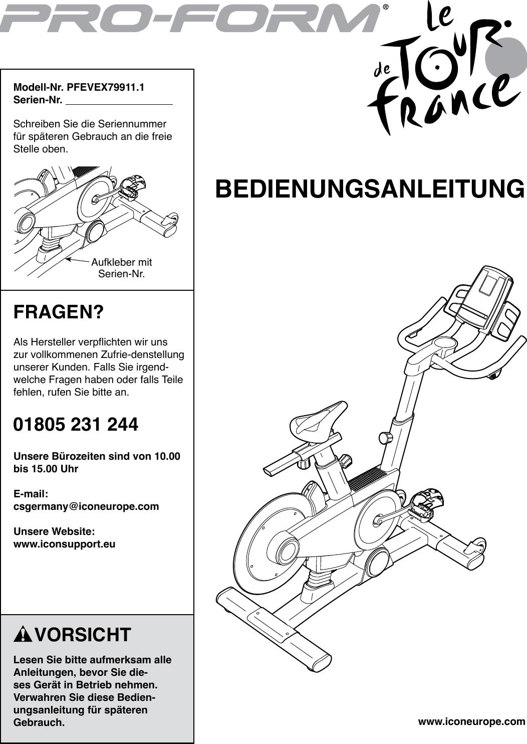 Proform Pfevex799111 Le Tour De France Bike Users Manual