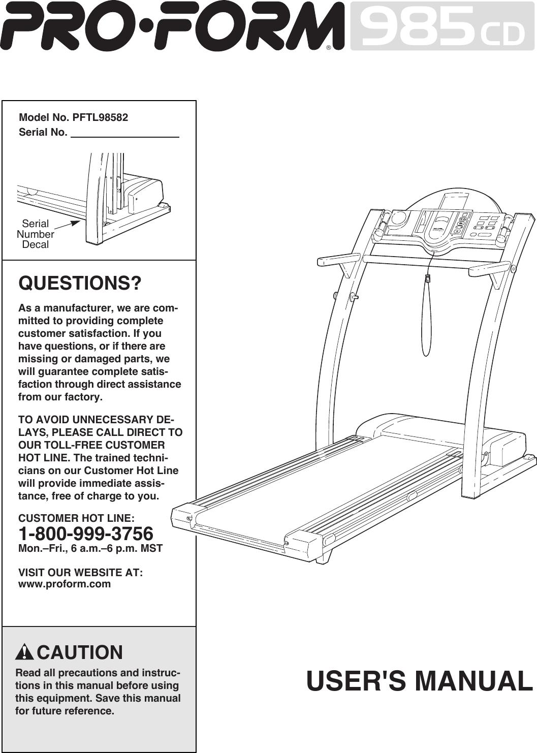 Proform Pftl98582 985Cd Treadmill Users Manual *PFTL98582