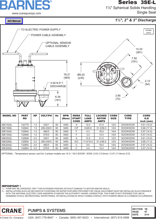 small resolution of page 2 of 3 539762 2 barnes series 3se l sewage ejector pump specification