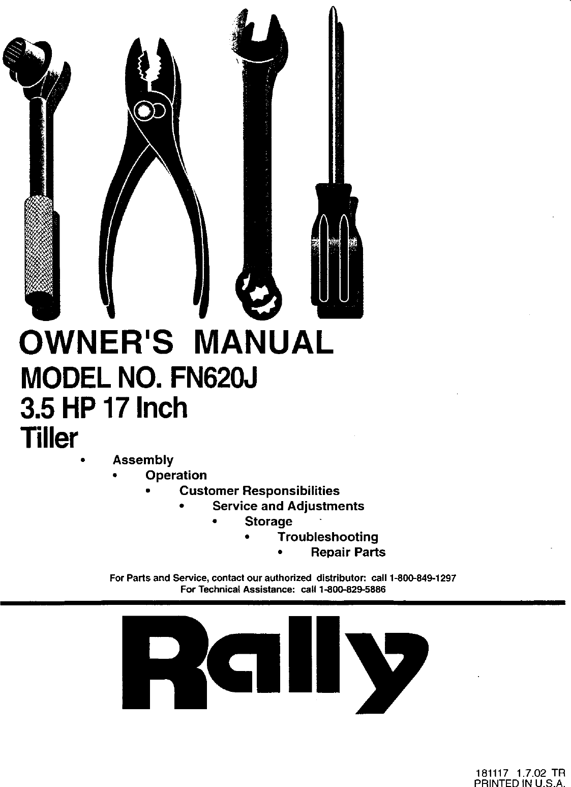 RALLY Front Tine, Gas Tiller Manual L0310225