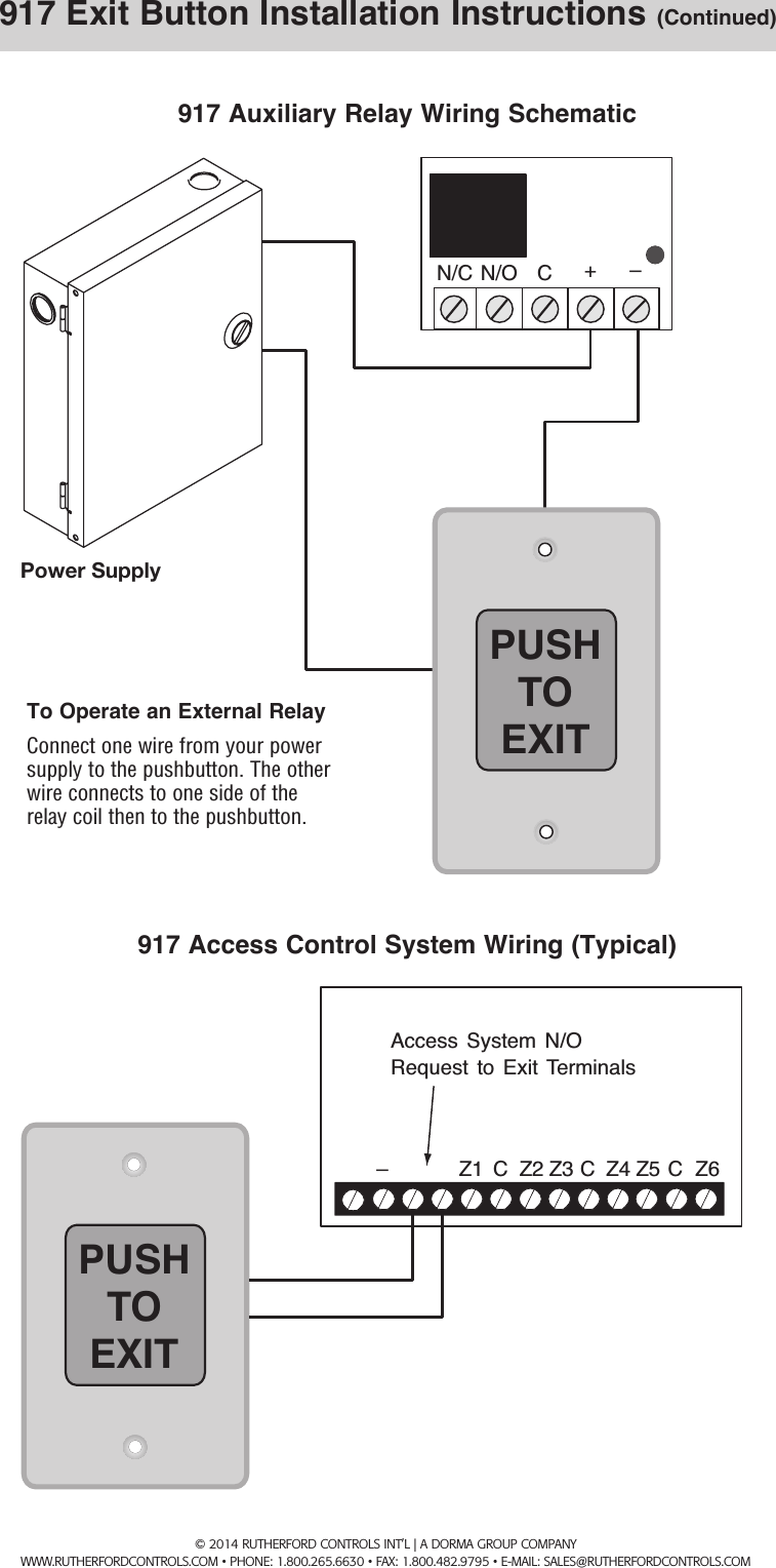 medium resolution of page 2 of 2 rci 917 easy touch exit pushbutton installation instructions is917 r0814