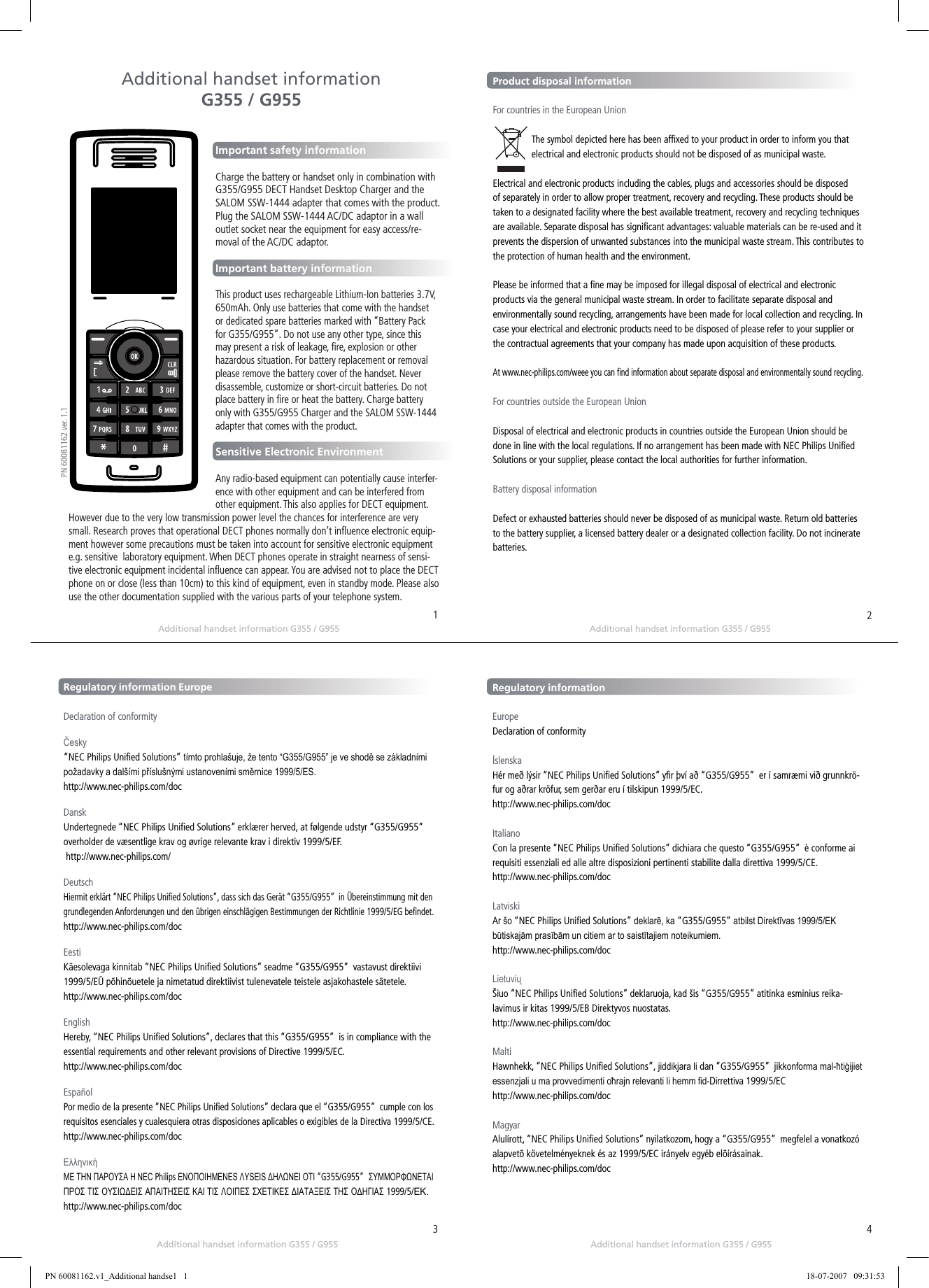 RTX CT8010 Digital Cordless Handset with Caller ID User Manual