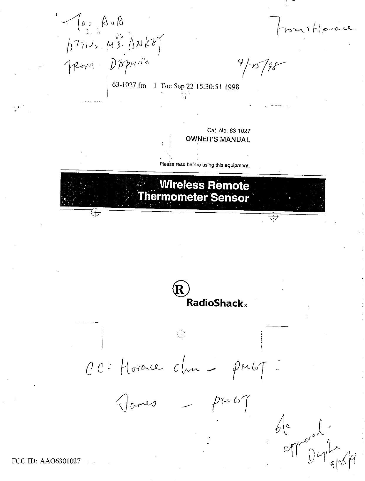 Radio Shack 6301027 WIRELESS REMOTE THERMOMETER SENSOR
