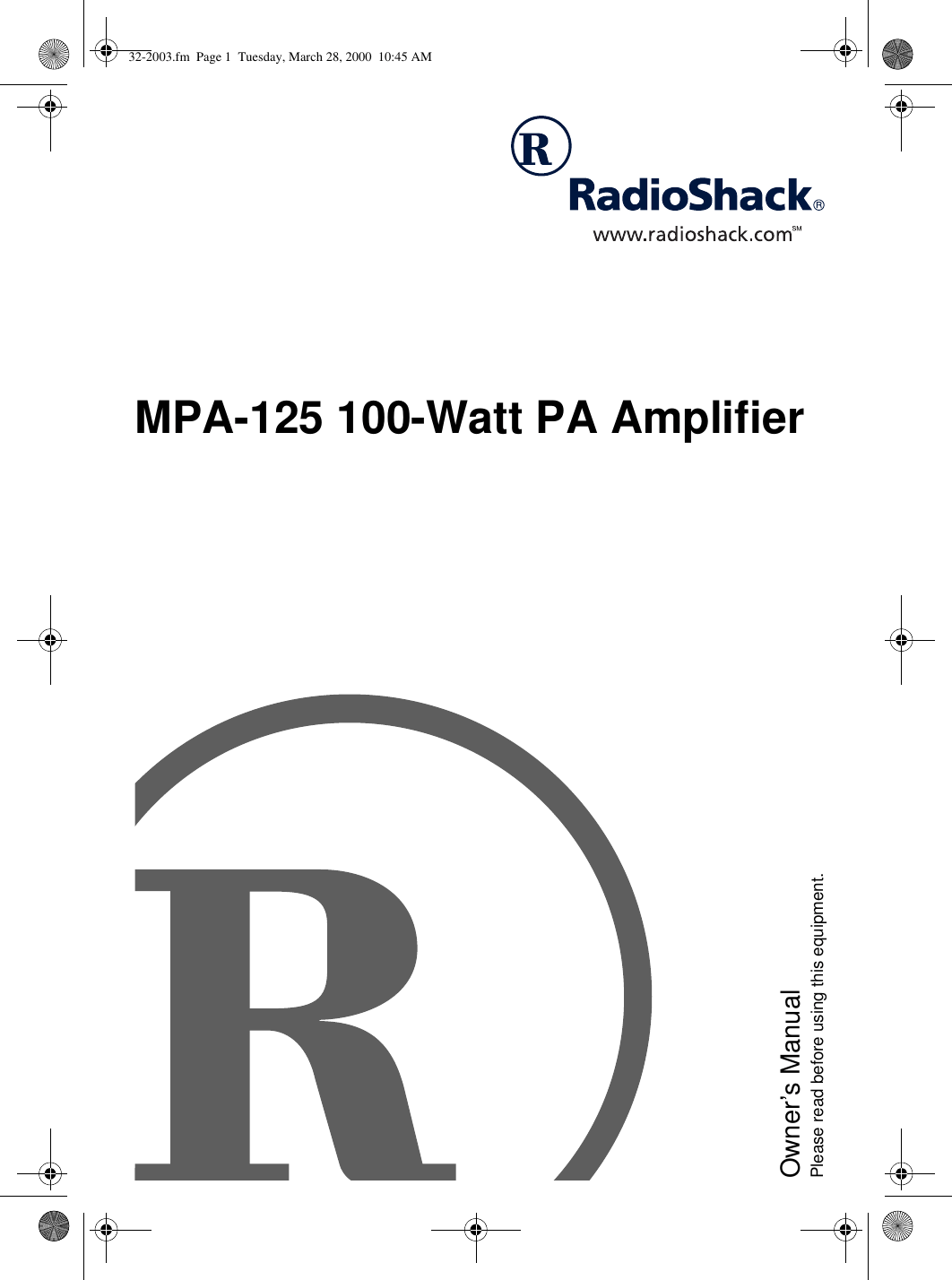 Radio Shack Mpa 125 Users Manual Www RadioShack With CircleR