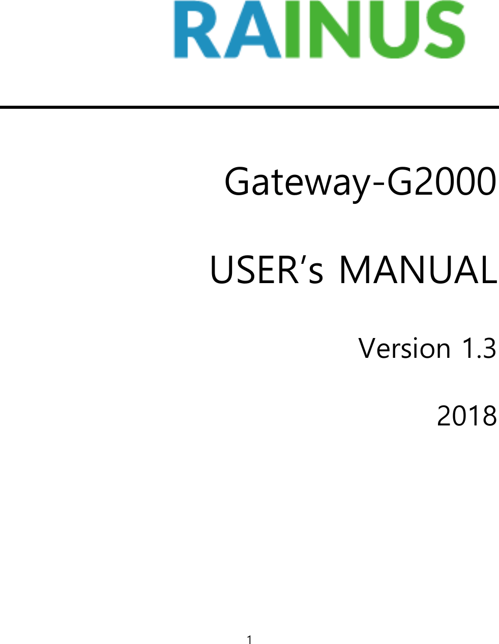 RainUs G2000 Gateway User Manual