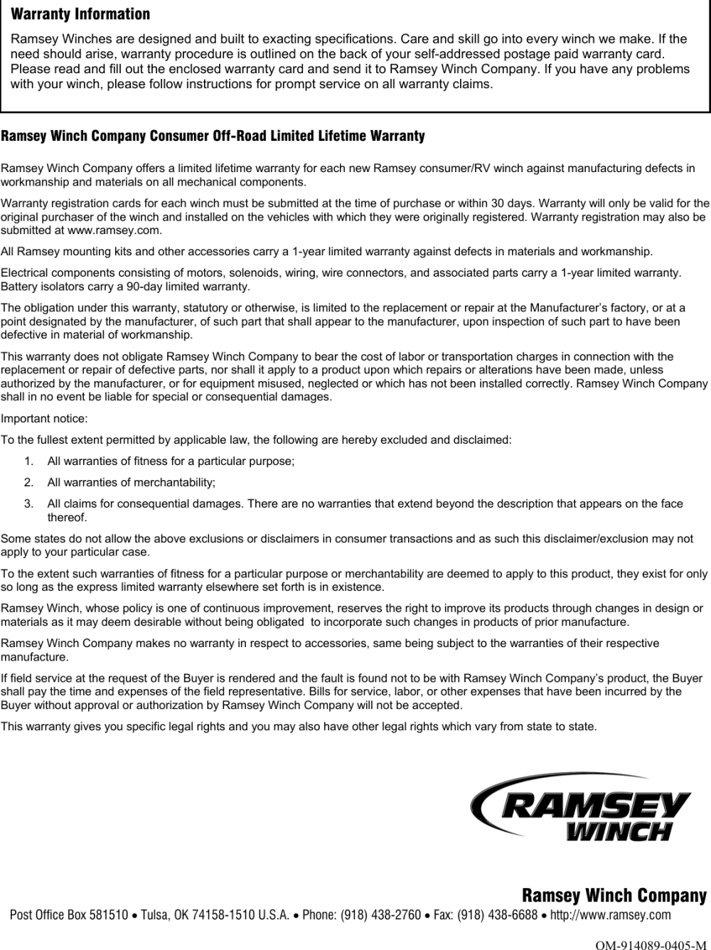 medium resolution of page 12 of 12 ramsey ramsey front mount electric winch