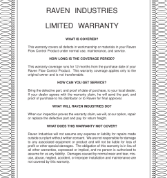 raven industrieslimited warrantywhat is covered this warranty covers all defects in workmanship or materials in [ 1160 x 1532 Pixel ]