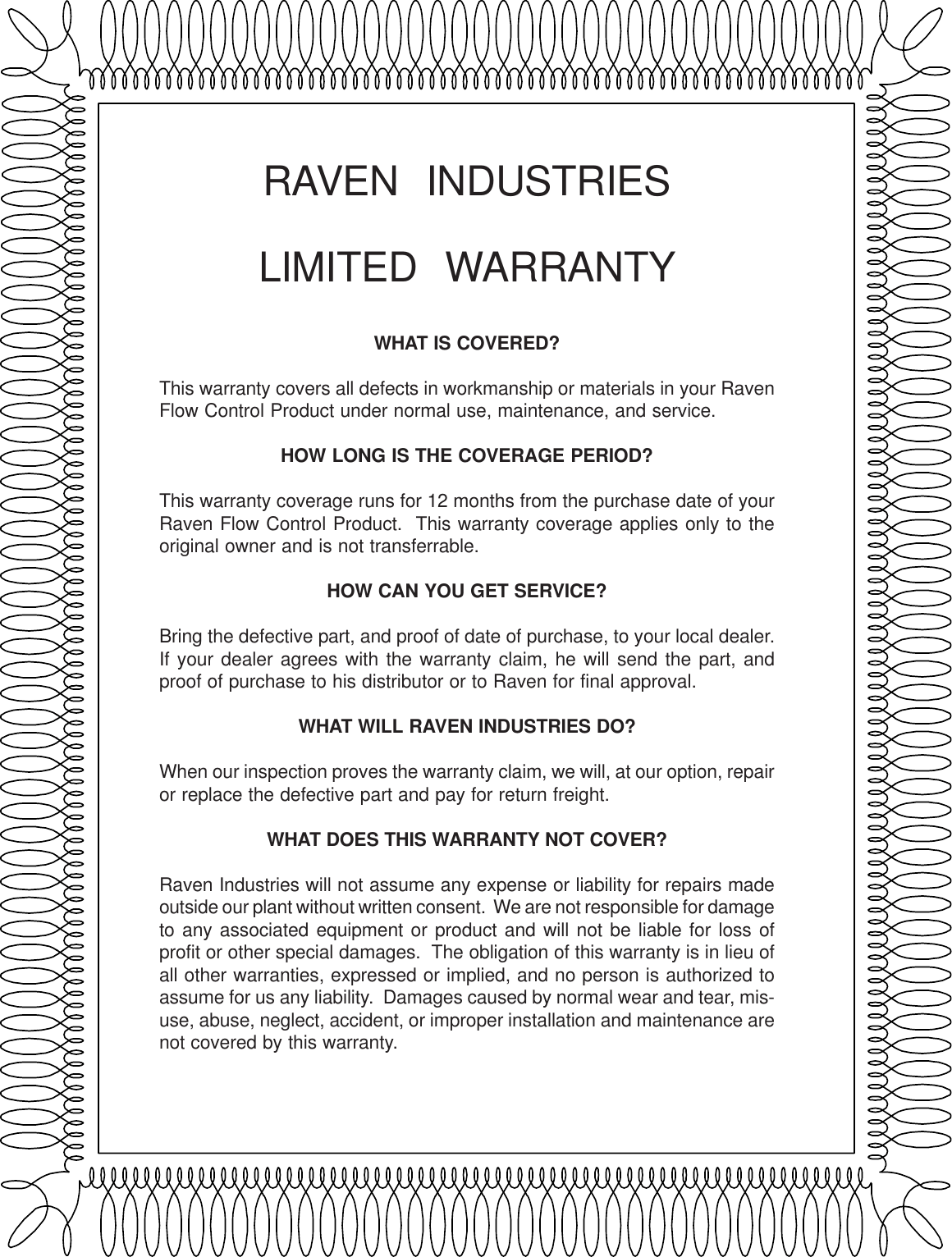 hight resolution of raven industrieslimited warrantywhat is covered this warranty covers all defects in workmanship or materials in