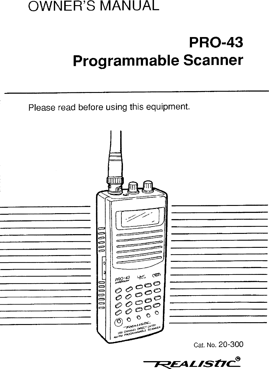 Realistic Pro 43 Users Manual Handheld Scanner