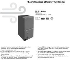 rheem standard efficiency up to 15 seer psc motor rh1p specification sheet [ 1122 x 1573 Pixel ]