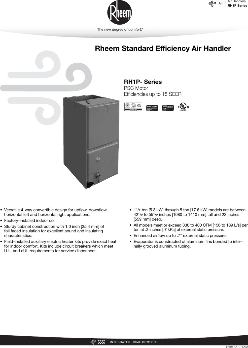 medium resolution of rheem standard efficiency up to 15 seer psc motor rh1p specification sheet