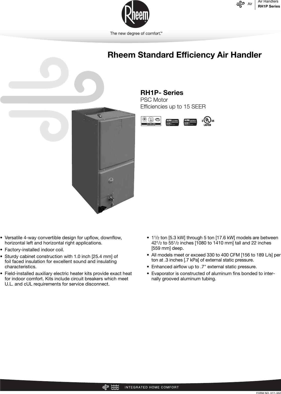 hight resolution of rheem standard efficiency up to 15 seer psc motor rh1p specification sheet