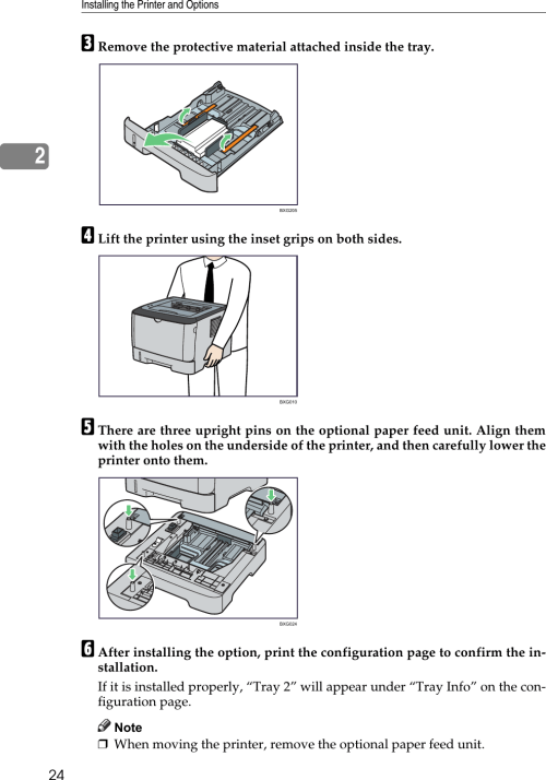 small resolution of installing the printer and options242cremove the protective material attached inside the tray dlift the printer