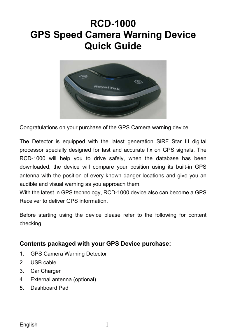 RoyalTek CD Bluetooth GPS Receiver User Manual RCD 1000