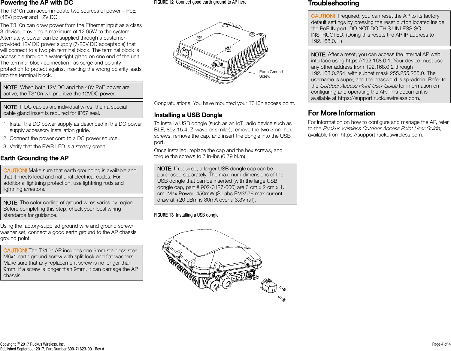 Ruckus Wireless T310NS T310 (N/S) Access Point User Manual