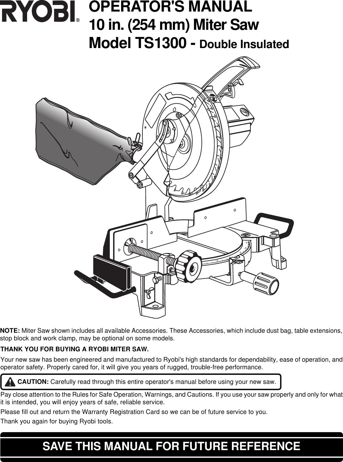 Ryobi Ts1300 Owner S Manual TS1300_746_eng