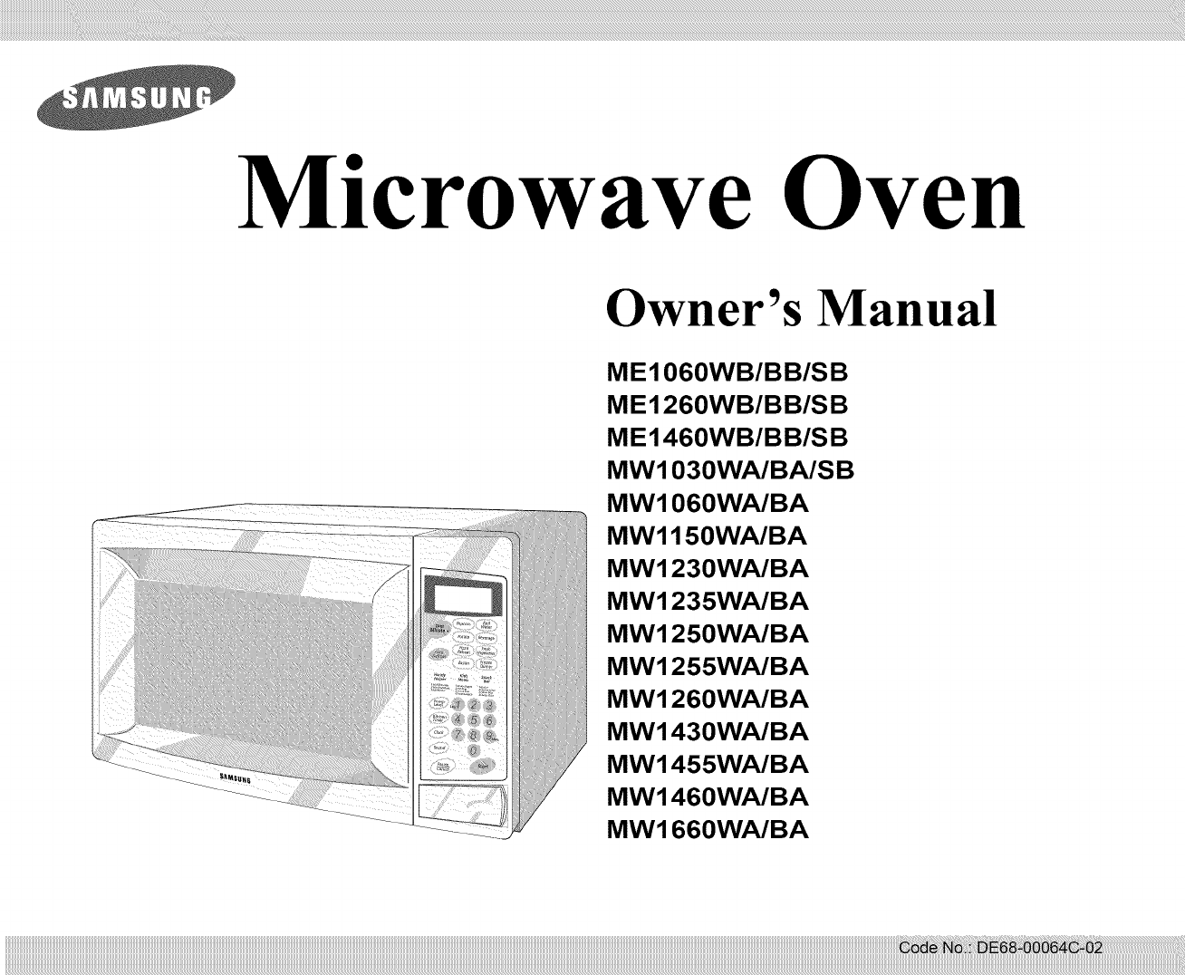 SAMSUNG Countertop Microwave Manual L0904661