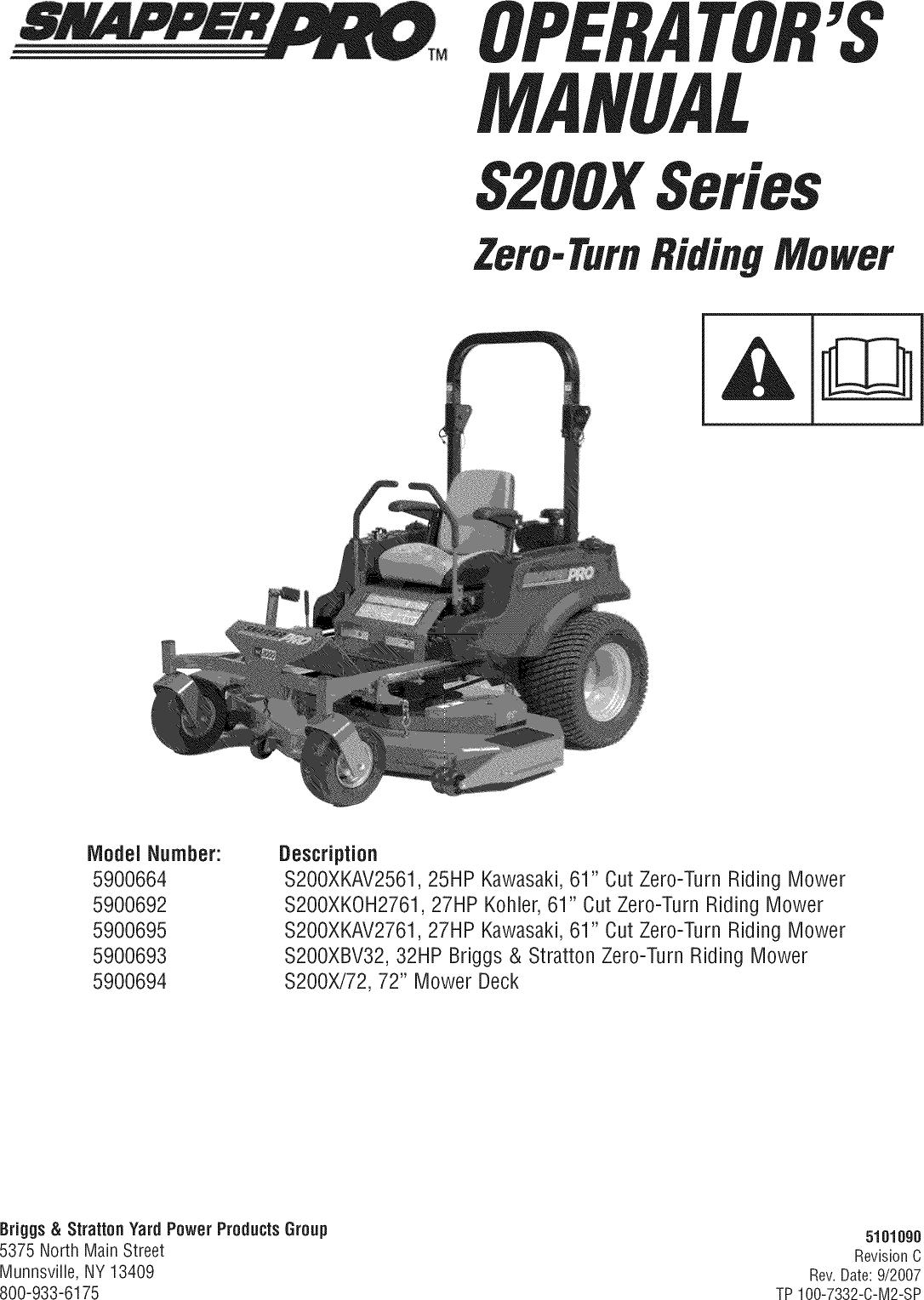 SNAPPER Lawn, Riding Mower Rear Engine Manual L0808227