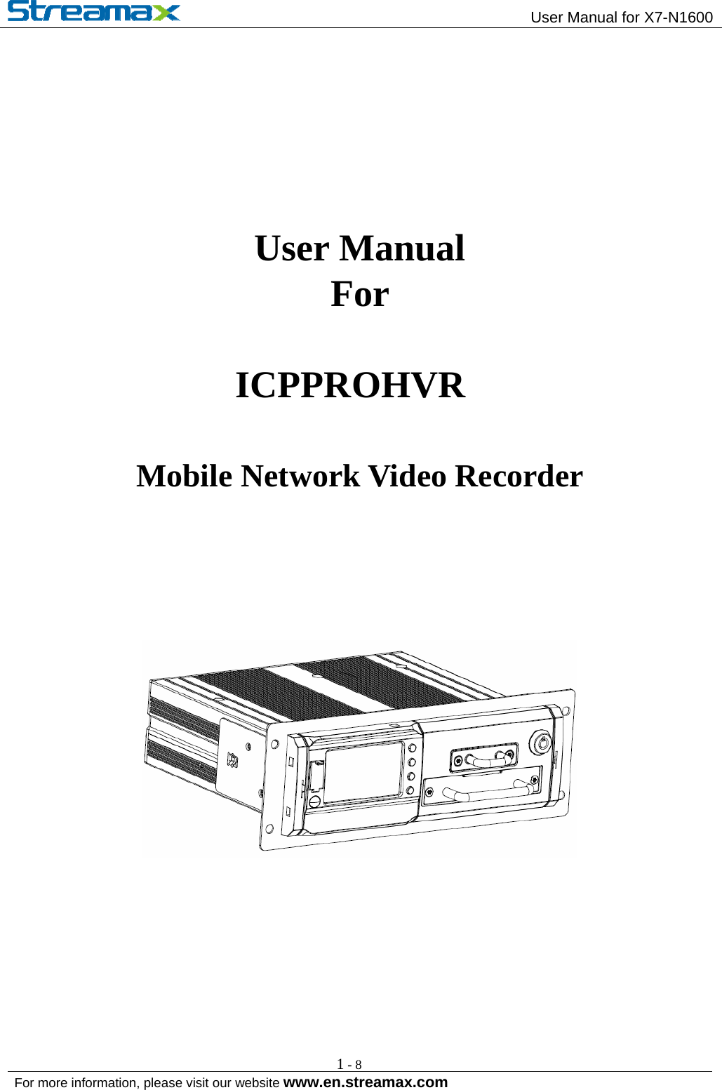 Safety Vision ICPPROHVR Mobile Digital Video Recorder User
