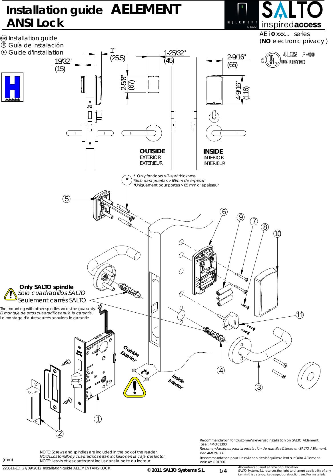 Salto Systems S L Ae9w Aelement Wireless Lock User Manual