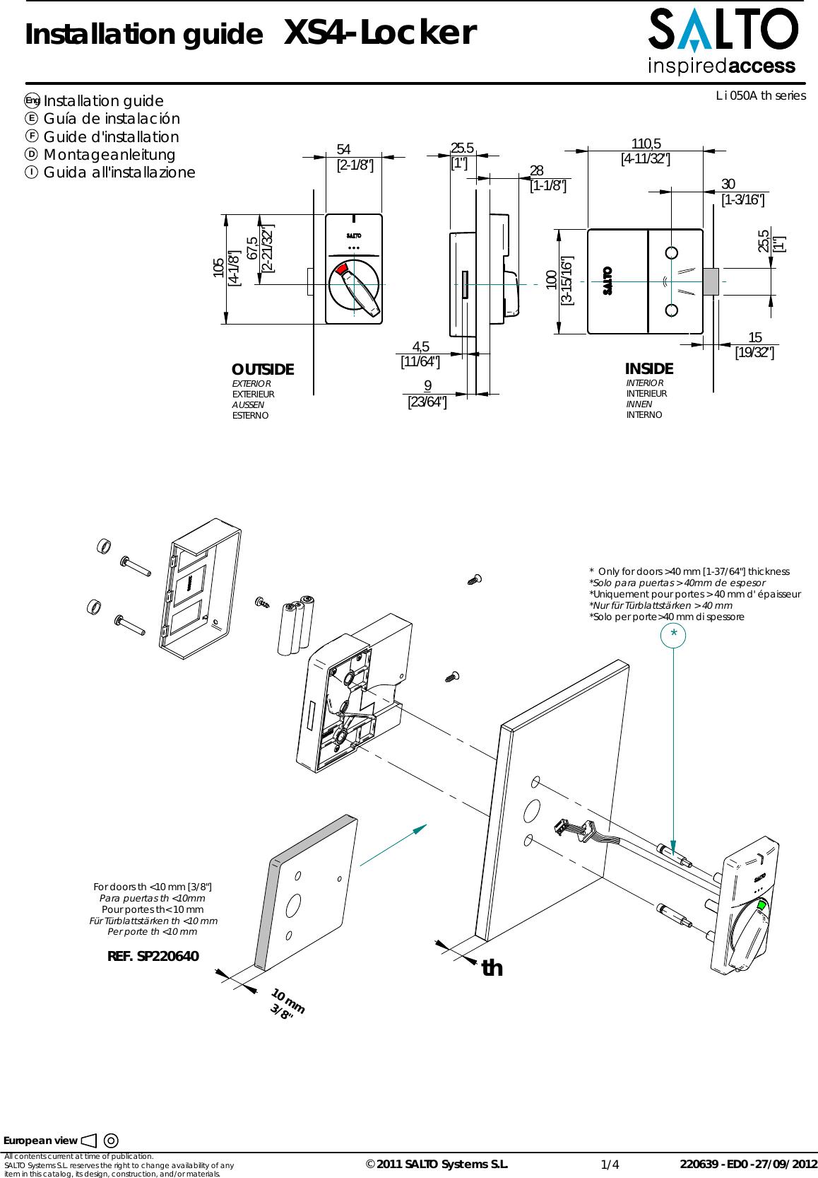 Salto Systems S L L90 XS4 Locker Lock- RFID Electronic