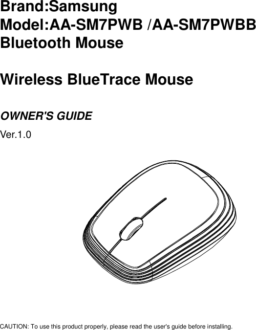 Samsung Electronics Co SM7PWB Bluetooth Mouse User Manual