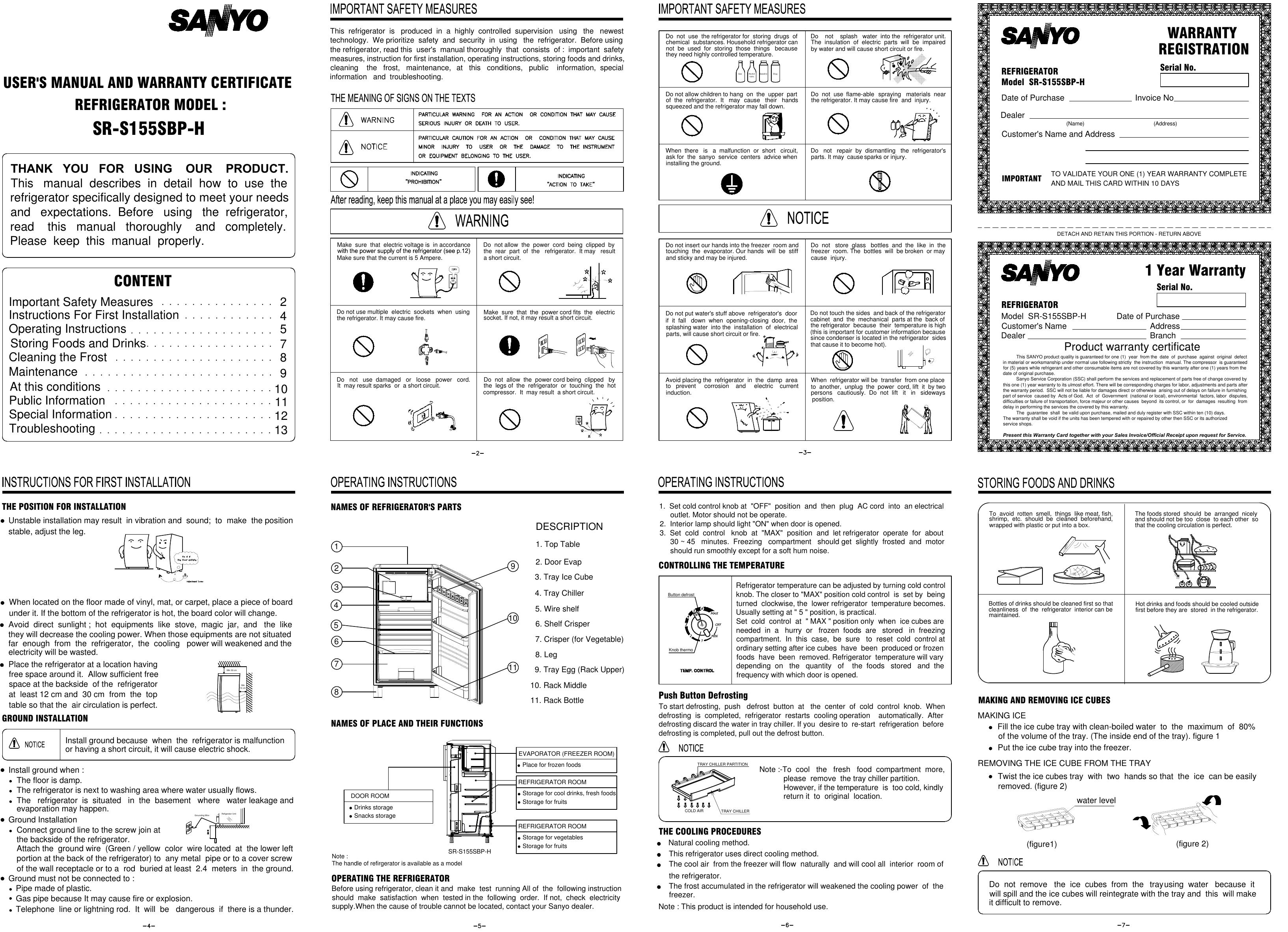 Sanyo Refrigerator Sr S155Sbp H Users Manual
