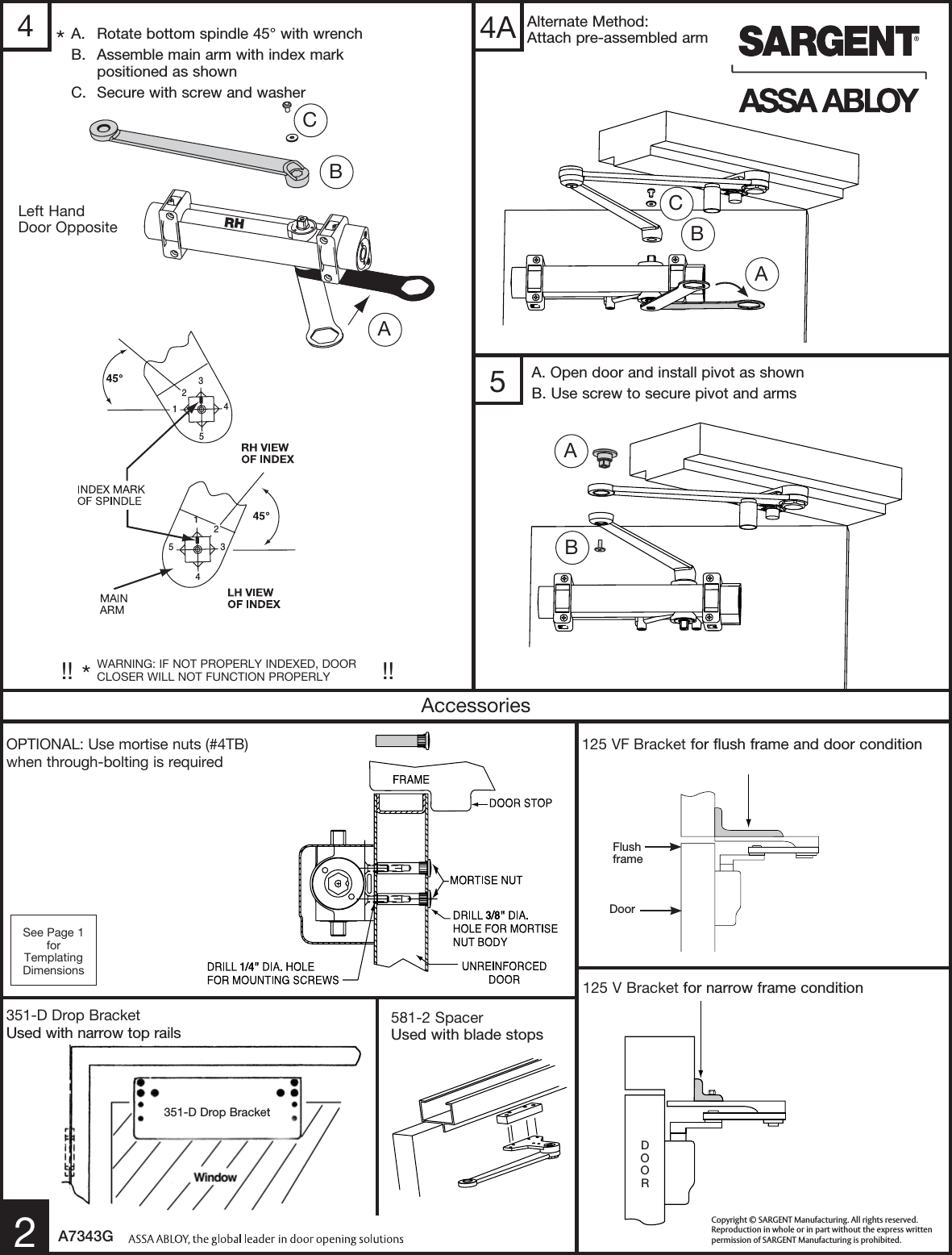 Sargent Instructions For Installing 351 Series Door