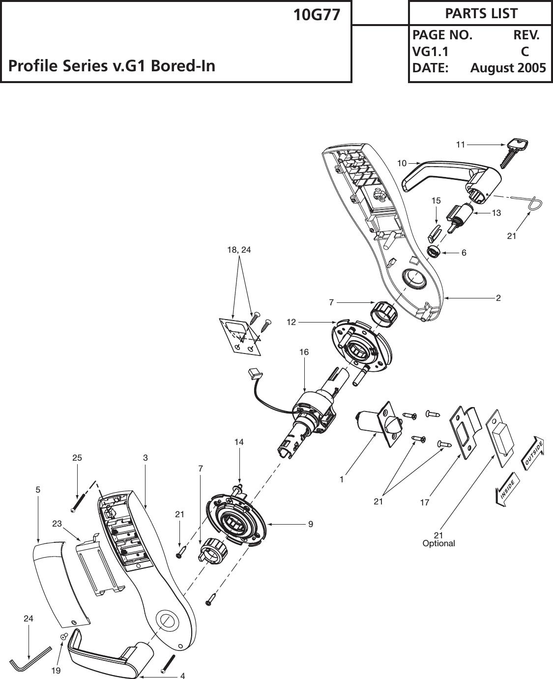 Sargent V.G1 Parts Pages Profile Series 10G77 V G1.1 C