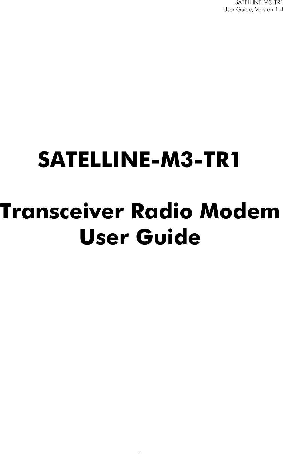 Satel SATEL-TA13 SATELLINE-M3-TR1 User Manual SATELLINE M3