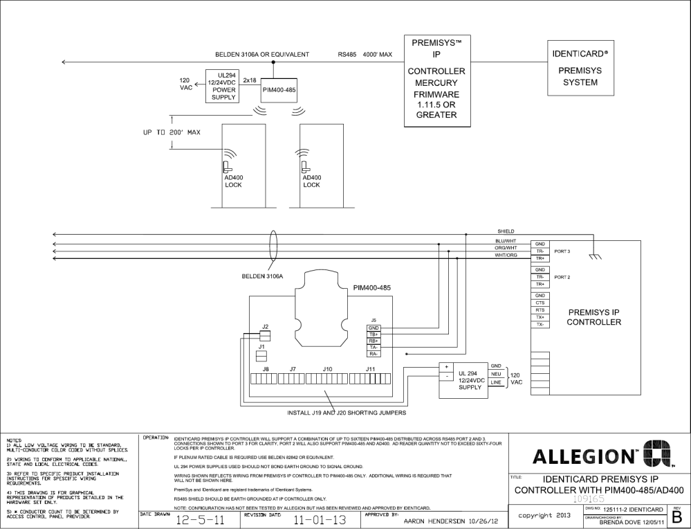 medium resolution of schlage electronics c ad400 wiring diagram identicard premi sys ip controller rs485 109165