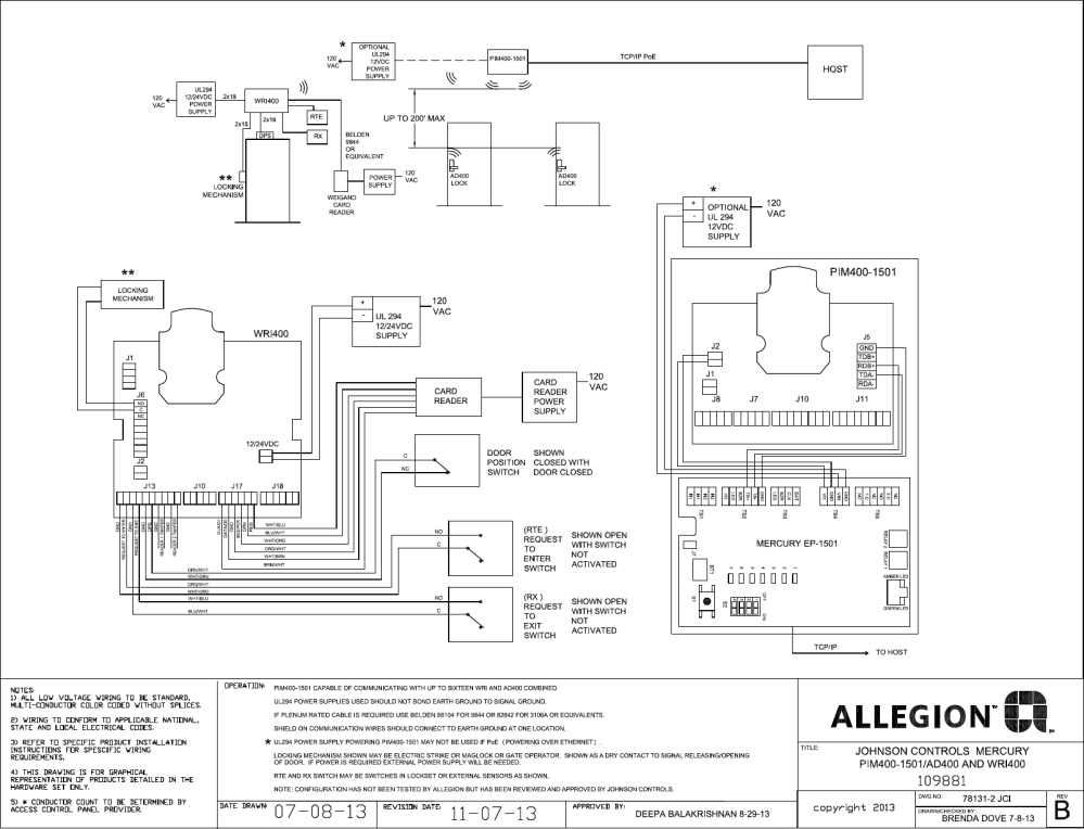 medium resolution of schlage electronics c ad ad400 wiring diagram johnson controls wri 400 pim400 1501 rs485 109881