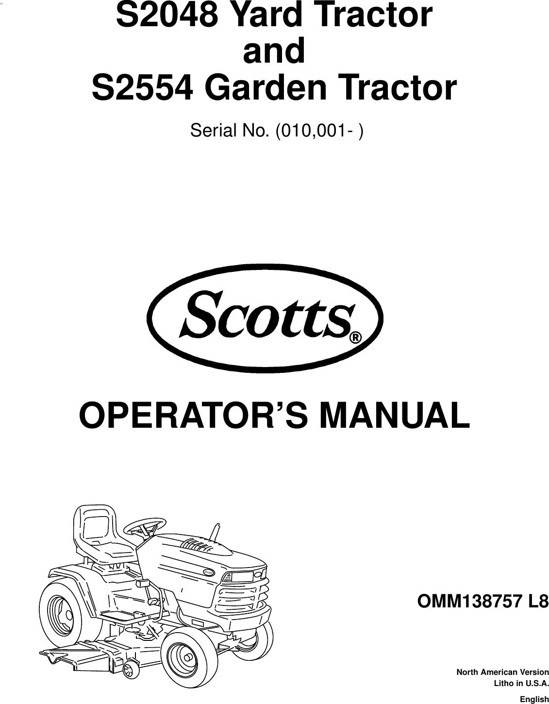Scotts S2048 S2554 Users Manual B TOC