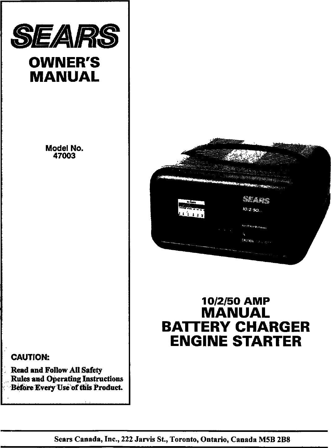 Sears 20047003 User Manual BATTERY CHARGER Manuals And