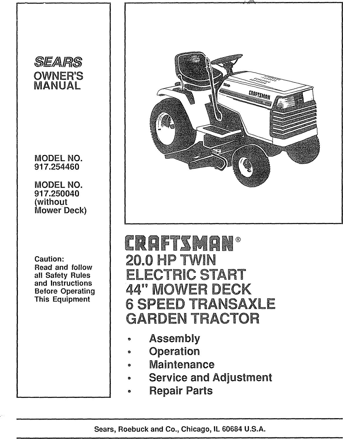 Sears 917 25004 Users Manual