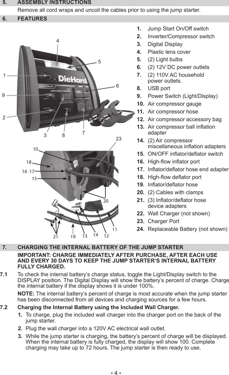 Sears Diehard Portable Power 1150 28 71988 Users Manual