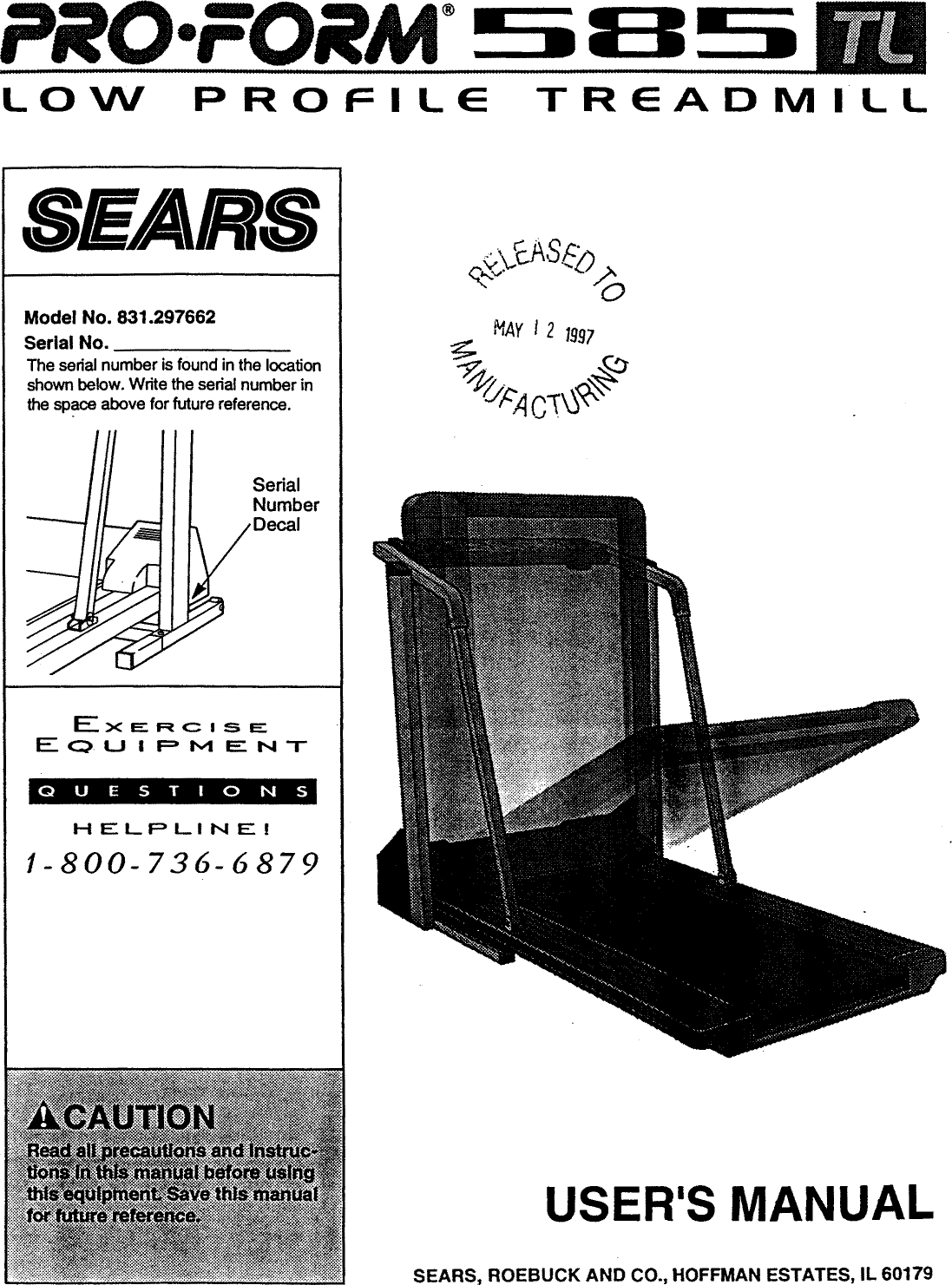 Sears Pro Form 585 831 297662 Users Manual