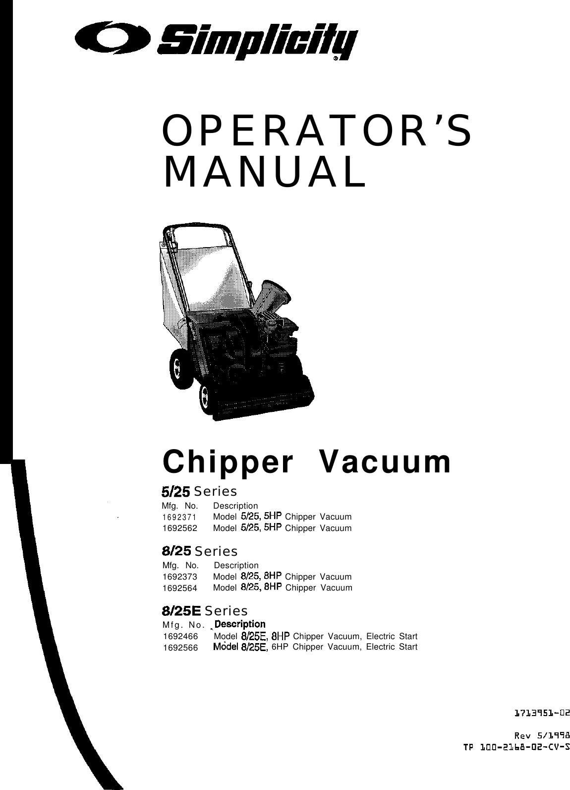 Simplicity 41815 Operators Manual