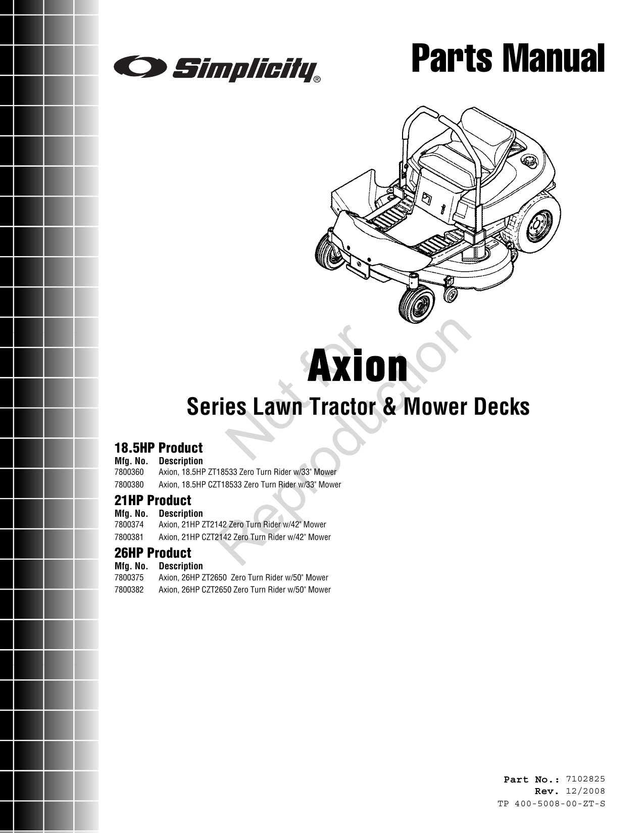 Simplicity 7800360 Axion Parts Manual 7102825 Series Lawn