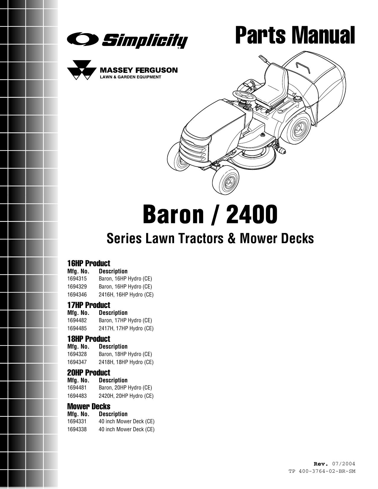 Simplicity Baron 2400 Parts Manual / Serieis