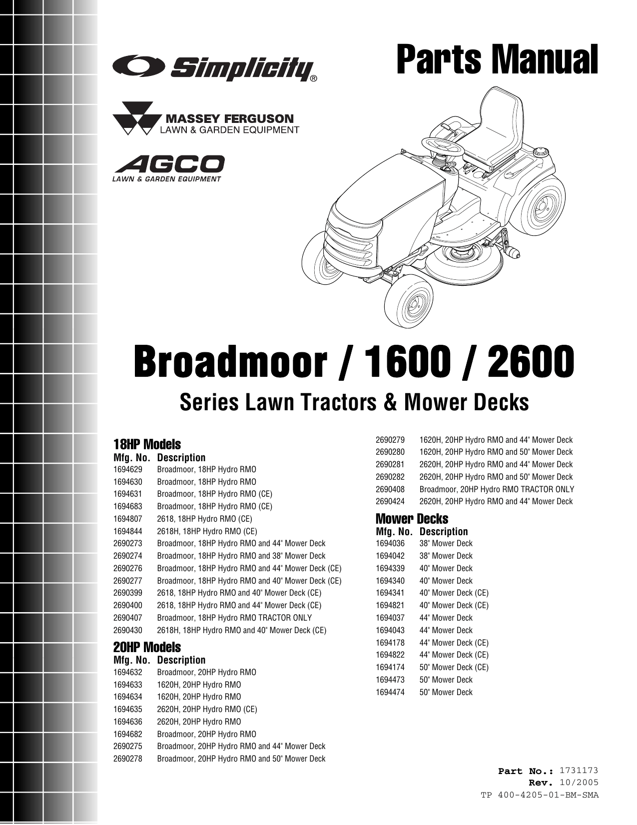 Simplicity Broadmoor 1600 Series Parts Manual / 2600