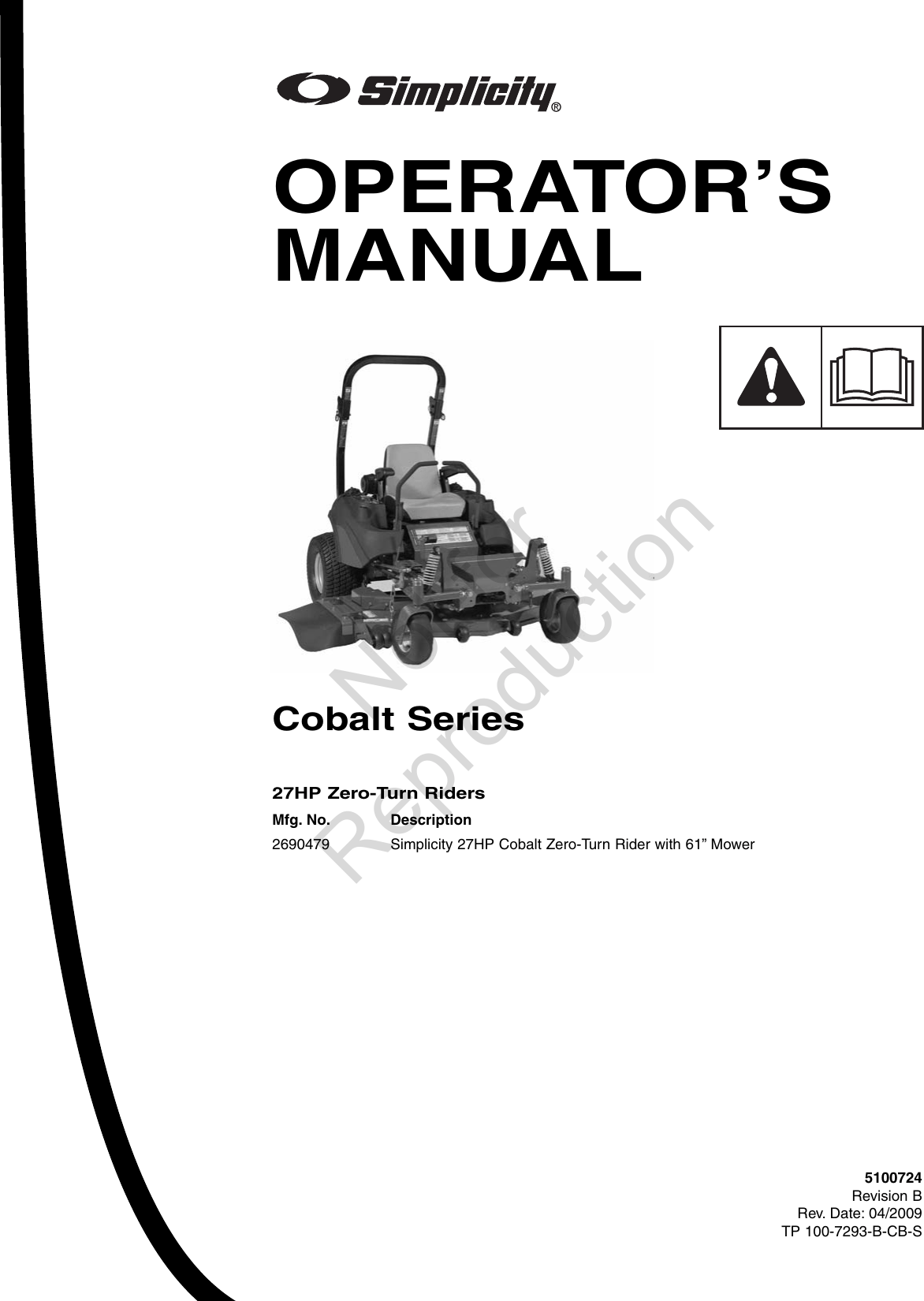 Simplicity Cobalt 2690479 Operators Manual Tp_100_7293_B