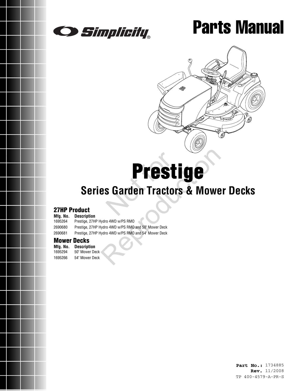 Simplicity Prestige 27Hp Parts Manual Series Garden