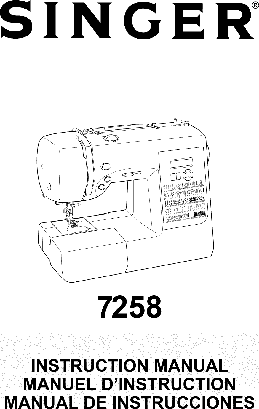 Singer 7258 User Manual SEWING MACHINE Manuals And Guides