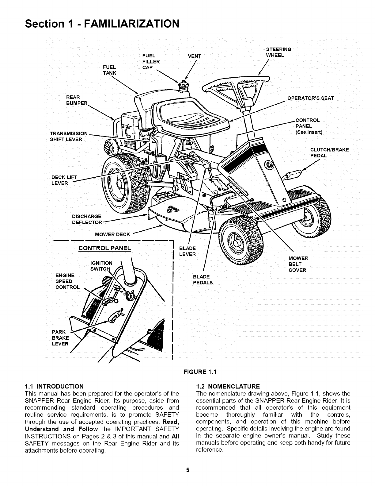 Snapper 281318BE User Manual REAR ENGINE RIDER Manuals And