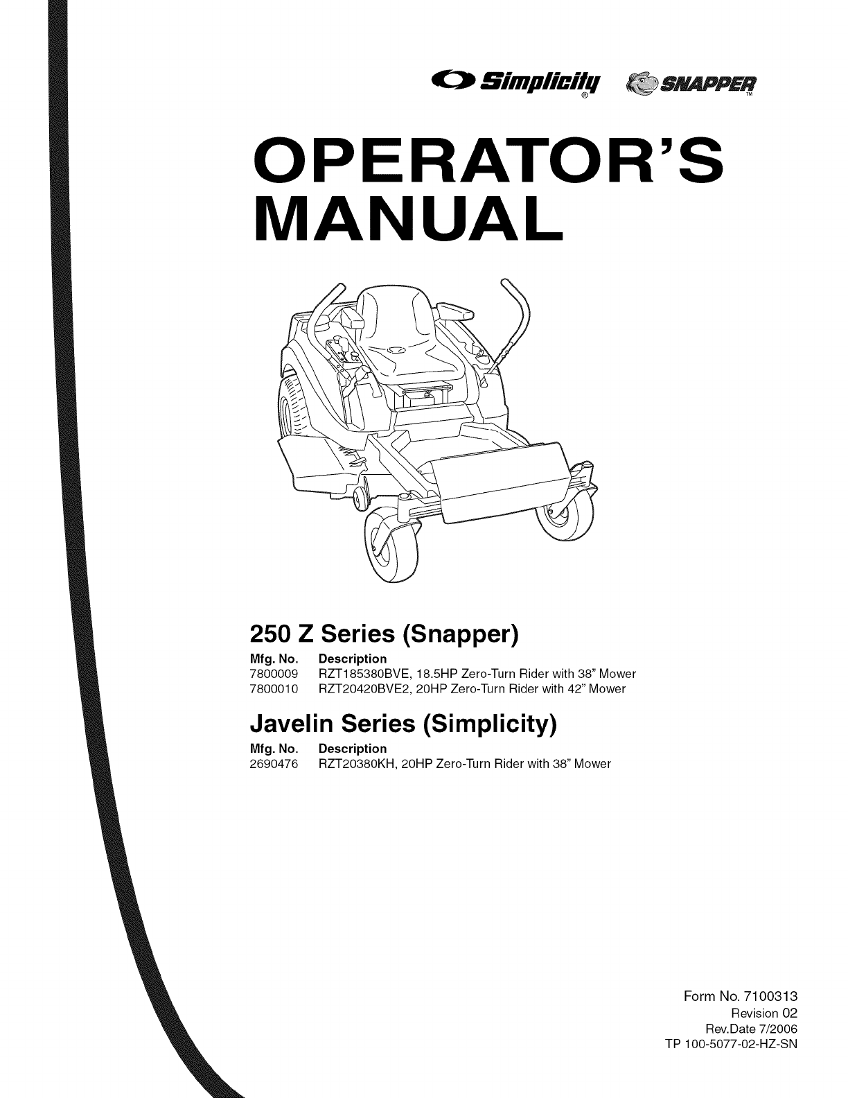 Snapper 7800010 User Manual HYDRO DRIVE 250 Z Manuals And