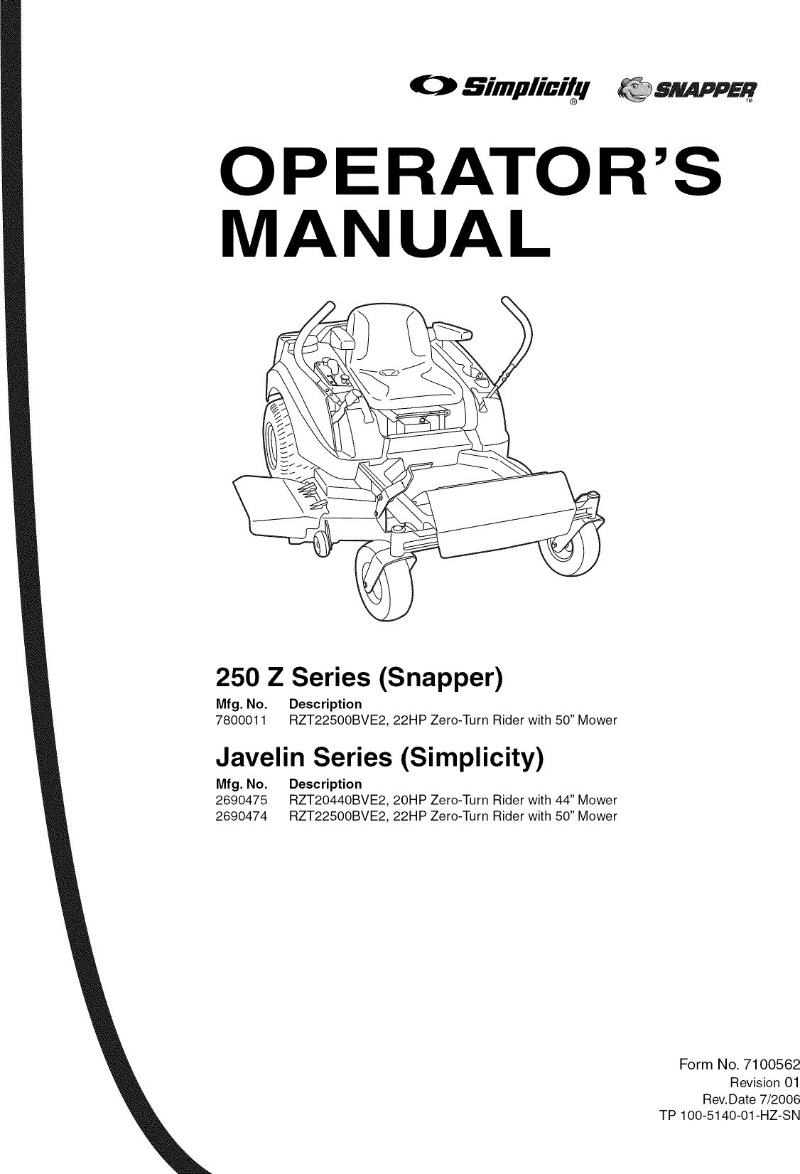 Snapper 7800011 User Manual HYDRO DRIVE 250Z Manuals And