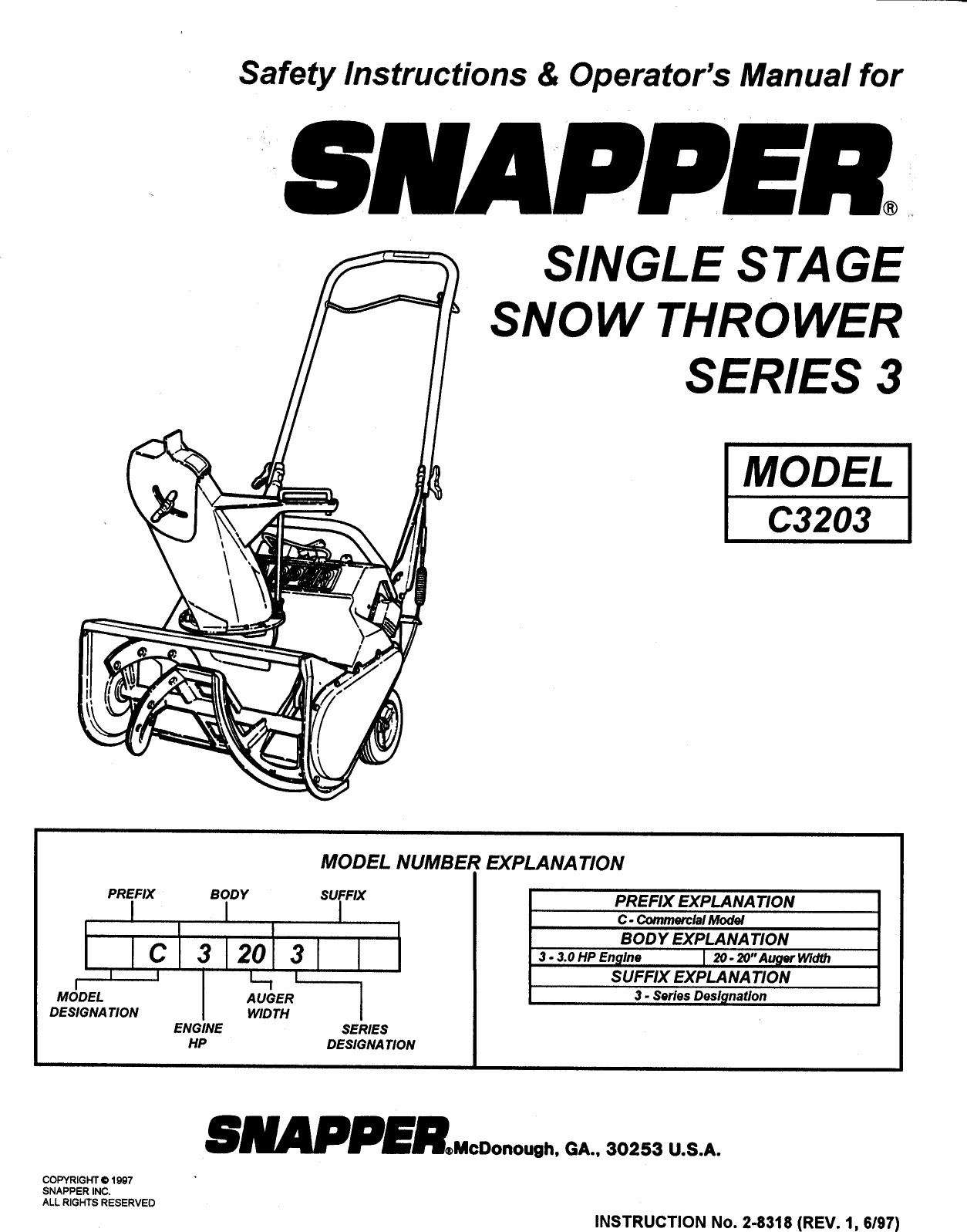 Snapper C3203 User Manual SNOW THROWER Manuals And Guides
