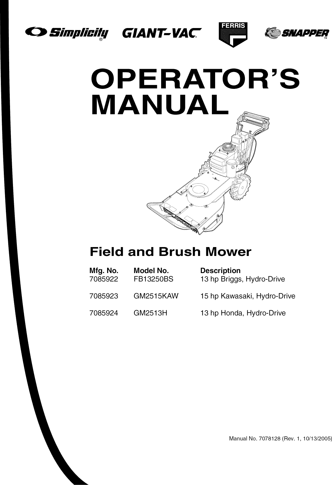 Snapper FB13250BS User Manual LAWN MOWER Manuals And